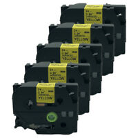 5PK TZ 651 TZe-651 Black on Yellow Label Tape Cartridge for Brother P-Touch 24mm
