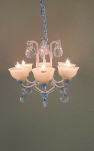 """1:48 1//4/"""" Scale Dollhouse Miniature Light Crystal Chandelier with 3V LED 0001187"""