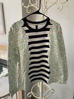 Mother Of Pearl White And Green And Navy 100% Cotton Sweatshirt Size M EUC