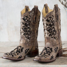 Corral Brown and Black Glitter Inlay Boots