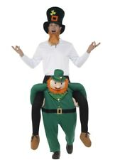 Mens Leprechaun Ride On Me Mascot Fancy Dress Carry Costume Piggy Back Outfit
