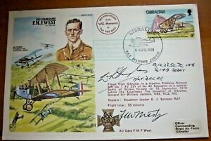 BOB PILOT F/LT WILLIAM HUGHES & AIR COMMODORE FREDDIE WEST SIGNED RAF COVER