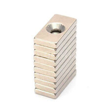 Lot 10pcs Countersunk Block Magnets 20 x 10 x 3mm Hole 4mm Rare Earth Neodymium
