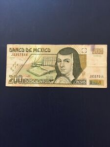 Mexican Peso 200 Denomination Bank Note.