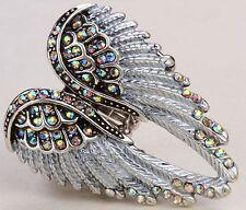 Angel Wings Stretch Ring Crystal Rhinestone Fashion Bling Jewelry Silver AB RD01