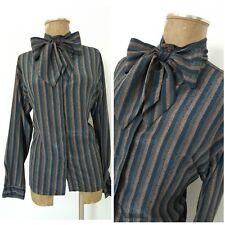 Vintage 80 Huge Bow Tie Blouse Size Large Stripe Secretary Top Shirt Shiny