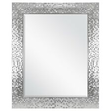 "Glam Chic Modern Contemporary Wall Mirror Beveled Silver Framed 23"" x 28"""