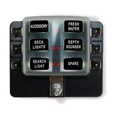 6V 12V 24V Automotive & Marine Apps 6 Way Standard Circuit Blade Fuse Box