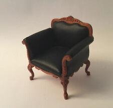 Dolls House Black Leather Armchair (b)