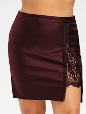 Plus Size Sexy Women Skirt Dress Lace Insert PU Leather Skirt