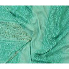 Sanskriti Vintage Green Sarees Pure Silk Bandhani Printed Sari 5Yd Craft Fabric