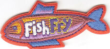"""""""FISH FRY"""" PATCH - Iron On Embroidered Applique/Food, Entertainment, Fun,Cooking"""