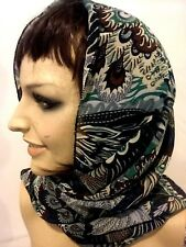 Beautiful Shawls/ scarf and wrap chiffon with peacock glitter design Blue &Green