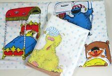 Vtg Twin Flat Bed Sheet Pillowcase Sesame Street Cookie Monster Elmo Big Bird