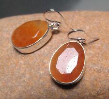 Sterling silver 6gr chunky cut rutilated quartz stones earrings.