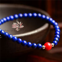 Natural blue lapis lazuli 6mm & red coral 8mm round gemstone beads bracelet 7.5""