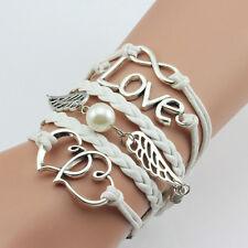 Infinity-Liebes-Doppel-Herz-New Fashion Women-Armband-Perlen-Flügel-Armband