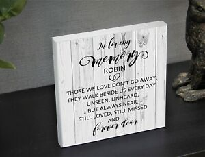 Personalised Memorial plaque Solid Wood keepsake 'In Loving Memory'