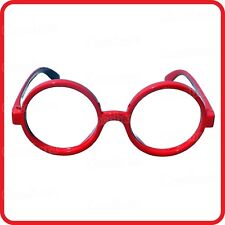NERD-CLOWN-SCHOOL GIRL BOY-LENSLESS RED RIM ROUND GLASSES-FUNNY COSTUME-PARTY