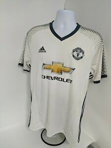THE RED DEVILS T-SHIRT SIZE L WHITE CHEVROLET MANCHESTER UNITED ADIDAS
