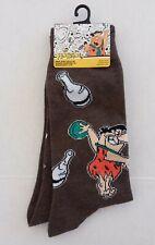 The Flintstones Crew Socks - Men Size 6-12 (Brown) NEW