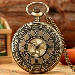 Bronze Roman Numeral Case Unisex Analog Quartz Pocket Watch with Necklace Chain