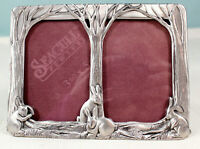 "Vintage Seagull Pewter Frame Forest and Bunnies Size 5.5"" x 4""/Two Photo Frames"