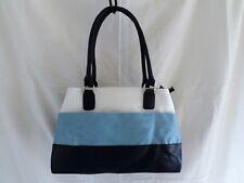 Ladies Faux Leather Totes Handbag Tri Colour Blue Shoulder Bag  903600