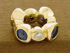 Bd072- GENUINE 9K Yellow Gold NATURAL Blue Sapphire &  Diamond Bead Charm