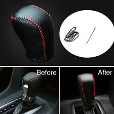 Black Leather Red Thread Gear Shift Knob Cover Shell Trim Bezel For Civic 16-17