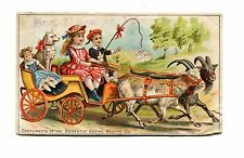Victorian Trade Card DOMESTIC SEWING MACHINE Kids in Goat Cart