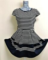 New York Laundry Size 14 Navy White Stripe Nautical Sailor Stretchy Skater Dress