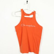 Vintage CHAMPION Spell Out Sleeveless T Shirt Vest Orange | Small S