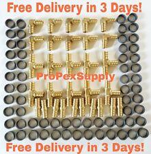 "(100 pcs) 1/2"" PEX Crimp Fittings w/Copper Crimp Rings-  Lead Free"