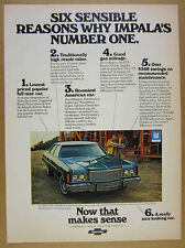 1975 Chevrolet IMPALA 4-Door Sedan blue car photo vintage print Ad