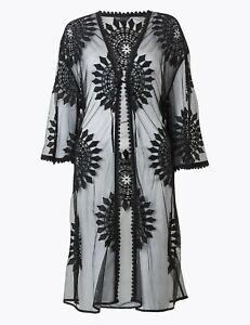Perfect for summer - BNWT M&S black mesh embroidered beach kaftan cover up