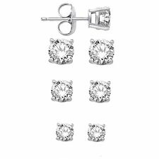 .925 Sterling Silver Round CZ Stud Earrings Set Of Three Sizes - 4mm, 5mm, & 6mm