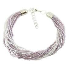 Gloriosa 12 Strand Seed Bead Murano Bracelet - Silver Amethyst