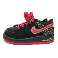 Nike Force 1 Girls 6C Black Suede Bright Pink Athletic Kids Shoes Stars Sparkle