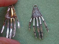 5 large skeleton hand pendants charms tibetan silver antique tone wholesale R63