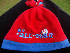 "Red & Blue Warm Fleece Beanie Style  Hat Toddler Boys  ""All Star""  Base ball"
