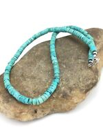 "Navajo Native Blue Turquoise 7mm 20"" Heishi Sterling Silver Bead Necklace 4634"