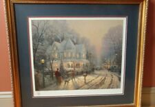Framed Thomas Kinkade Foothill Holiday Gathering Lithograph Signed with COA