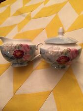 Stechcol Gracie Creamer & Sugar Bowl -roses With Butterflys In Blue-New