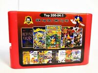 2G Game Card 200 in 1 For Sega Genesis 100 Top GEN Games + 100 Top Master System