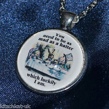 Alice in Wonderland Inspired Silver pendant Necklace - Mad Hatter Tea Party