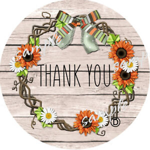 24/48/96 VINTAGE FLORAL WREATH THANK YOU ENVELOPE SEALS LABELS STICKERS
