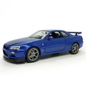 1:24 Nissan Skyline GT-R (R34) Sports Car Model Car Diecast Vehicle Gift Blue