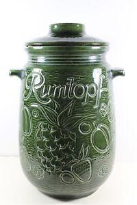 "One 13"" W Germany Rumtopf green pottery jar for fermenting fruit drink 204-28"
