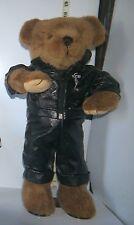 """Animated Dancing 18"""" Teddy Bear """"Elvis Presley"""" in Black Leather Jump Suit"""